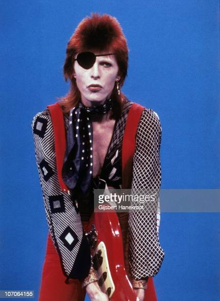 David Bowie performs on the Dutch TV show TopPop playing the song 'Rebel Rebel' and wearing an eye patch on 7th February 1974 in Hilversum Netherlands