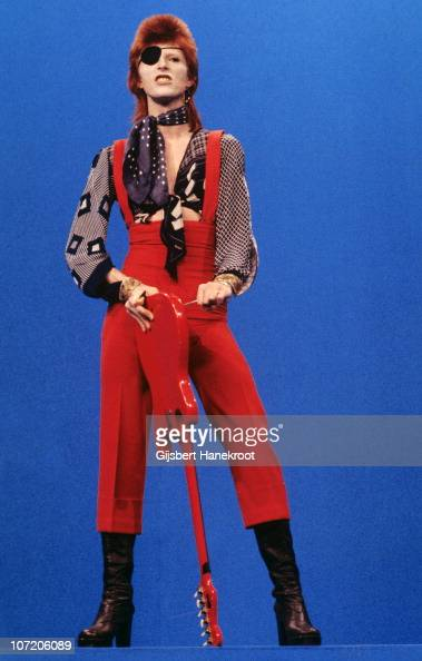David Bowie performs 'Rebel Rebel' on the TV show TopPop on 7th February 1974 in Hilversum Netherlands