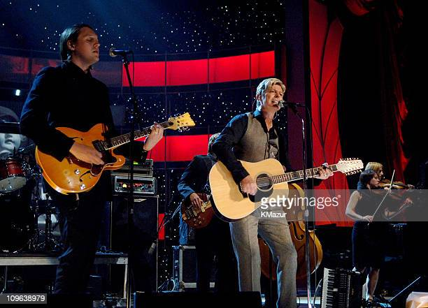 David Bowie performs with Arcade Fire at Conde Nast's 2005 Fashion Rocks Show