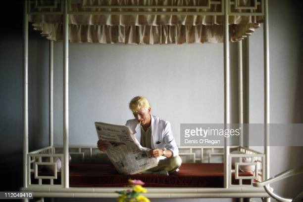 David Bowie reading a copy of The Straits Times Hong Kong 1983