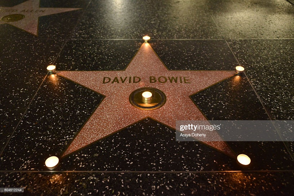 <a gi-track='captionPersonalityLinkClicked' href=/galleries/search?phrase=David+Bowie&family=editorial&specificpeople=171314 ng-click='$event.stopPropagation()'>David Bowie</a> remembered on The Hollywood Walk of Fame on January 10, 2016 in Hollywood, California.