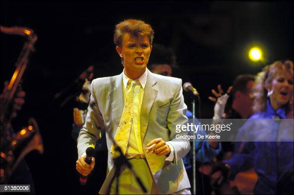 David Bowie sings during Live Aid in Wembley stadium 13 July 2004