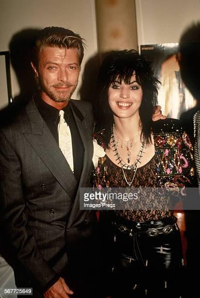 David Bowie visits Joan Jett backstage when Joan Jett the Blackhearts perform on Broadway circa 1989 in New York City