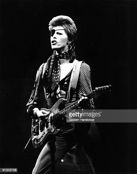 David Bowie with eye patch performs Rebel Rebel in the Top Pop Studios Hilversum Holland on February 13 1974