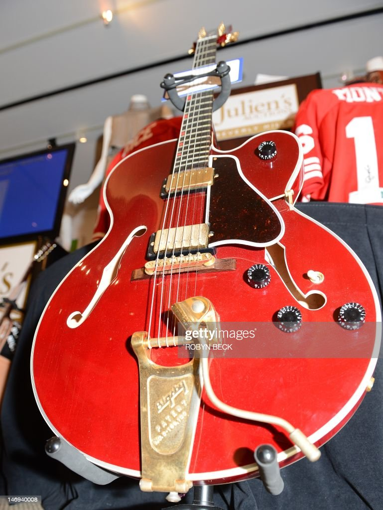 David Bowie's Country Gentleman Gibson guitar (Est: USD $20,000-$40,000) is on display at Julien's Auctions in Beverly Hills, California on the first day of Julien's Music Icons and Sports Legends auction, June 23, 2012