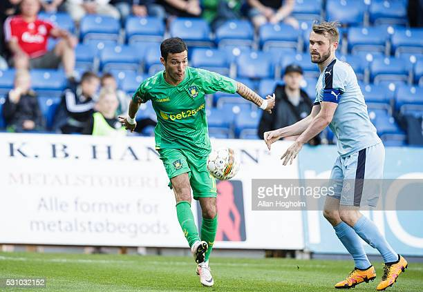 David Boysen of Brondby IF and Mads Fenger of Randers FC compete for the ball during the Danish Alka Superliga match between Randers FC and Brondby...
