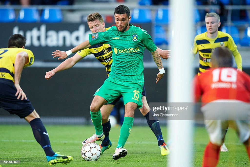 David Boysen of Brondby IF controls the ball during the Danish Alka Superliga match between Hobro IK and Brondby IF at DS Arena on May 26, 2016 in Hobro, Denmark.