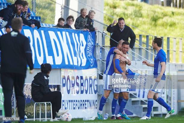 David Boysen of Lyngby BK celebrates after scoring their second goal during the Danish Alka Superliga match between Lyngby BK and FC Nordsjalland at...
