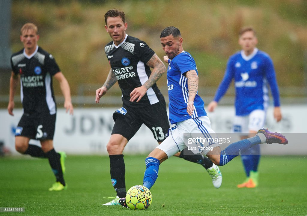 David Boysen of Lyngby BK in action during the Danish Alka Superliga match between Lyngby BK and Silkeborg IF at Lyngby Stadion on July 16, 2017 in Lyngby, Denmark.