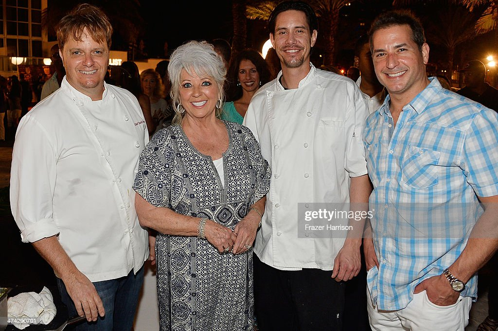 David Bracha, <a gi-track='captionPersonalityLinkClicked' href=/galleries/search?phrase=Paula+Deen&family=editorial&specificpeople=875895 ng-click='$event.stopPropagation()'>Paula Deen</a>, Curtis Rhodes and Bobby Deen attend the Thrillist's BBQ & The Blues hosted by Bobby Deen during the Food Network South Beach Wine & Food Festival at Eden Roc Hotel on February 22, 2014 in Miami Beach, Florida.