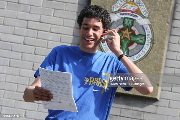 David Brady from Ballybough on the phone to his mum outside Secondary School Ardscoil Ris on Griffith Avenue Dublin after opening his results of his...