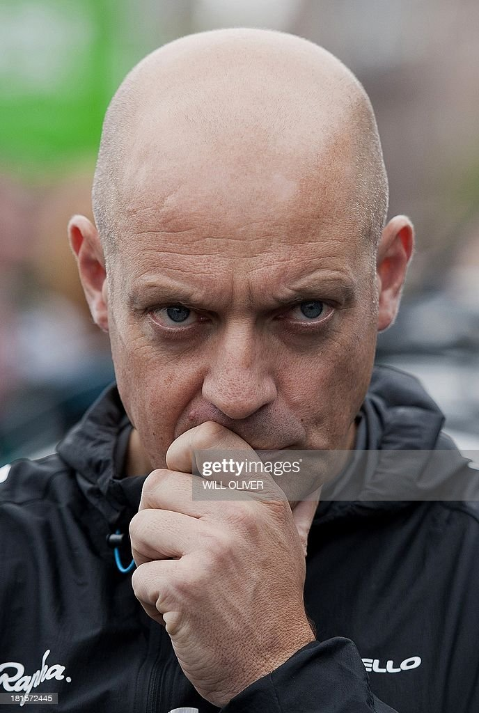 David Brailsford, performance director of British Cycling and general manager of Team Sky, is pictured before the start of the final stage of Tour of Britain in London on September 22, 2013. Bradley Wiggins won his home Tour of Britain as compatriot Mark Cavendish of Omega Pharma QuickStep cycling team took his third stage victory of this year's race. AFP PHOTO / WILL OLIVER