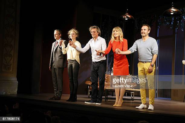 David Brecourt Mathilde Penin Yvan Le Bolloc'h Melanie Page and Bruno Solo play 'L'Heureux Elu' theater play premiere at Theatre de La Madeleine on...