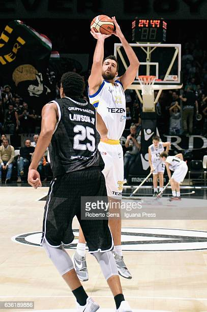 David Brkic of Tezenis competes with Kenny Lawson of Segafredo during the match of LNP LegaBasket Serie A2 between Virtus Segafredo Bologna and...