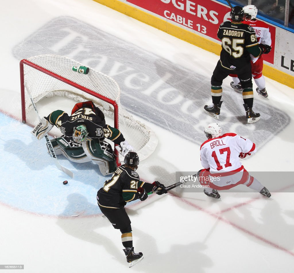 David Broll #17 of the Sault Ste. Marie Greyhounds has a scoring attempt stopped by Anthony Stolarz #43 of the London Knights in an OHL game on February 22, 2013 at the Budweiser Gardens in London, Ontario, Canada. The Knights defeated the Greyhounds 4-3 in overtime.