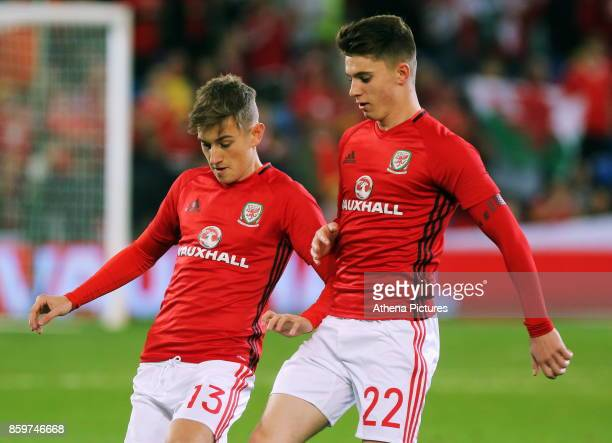David Brooks and Ben Woodburn of Wales warm up during the FIFA World Cup Qualifier Group D match between Wales and Republic of Ireland at The Cardiff...