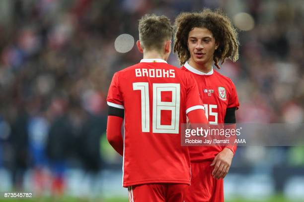 David Brooks of Wales and Ethan Ampadu of Wales during the International Friendly fixture between France and Wales at Stade de France on November 10...