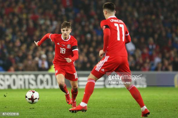 David Brooks of Wales and Tom Lawrence during the International Friendly match between Wales and Panama at The Cardiff City Stadium on November 14...