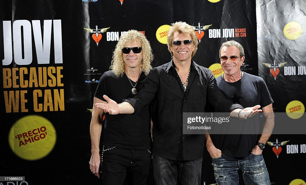 David Bryan Jon Bon Jovi and Tico Torres of Bon Jovi attend a photocall ahead of their concert at the Estadio Vicente Calderon on June 27 2013 in...