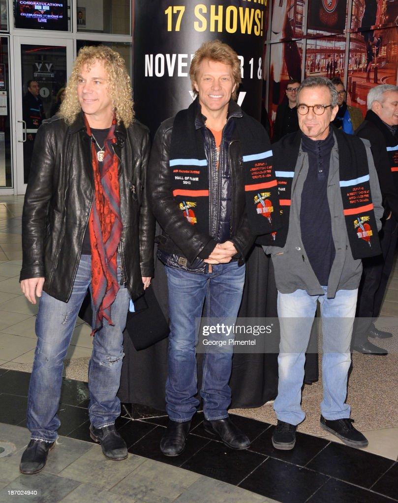 David Bryan, Jon Bon Jovi and Tico Torres of Bon Jovi receive Inaugural Induction into Air Canada Centre's Hall Of Fame at Air Canada Centre on November 2, 2013 in Toronto, Canada.