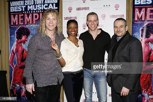 David Bryan Montego Glover Adam Pascal and Joe DiPietro attend the 'Memphis' celebration of 1000 Broadway performances at 48 Lounge on March 14 2012...
