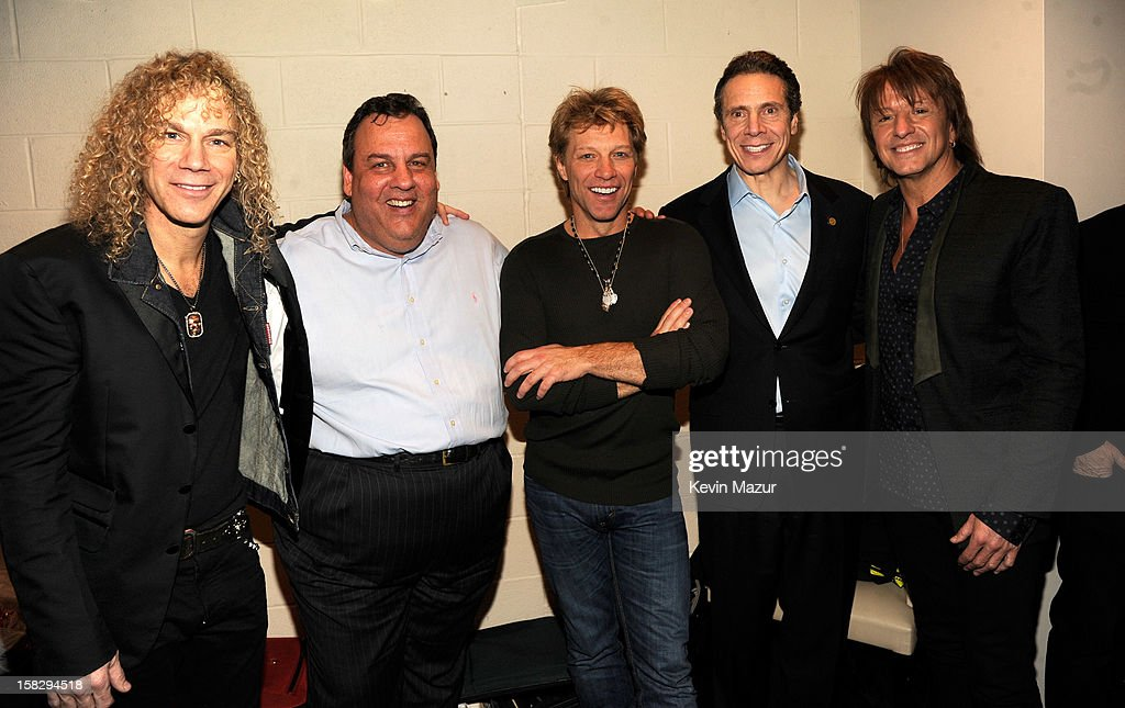 David Bryan, New Jersey Governor Chris Christie, Jon Bon Jovi, New York Governor Andrew Cuomo and Richie Sambora backstage during '12-12-12' a concert benefiting The Robin Hood Relief Fund to aid the victims of Hurricane Sandy presented by Clear Channel Media & Entertainment, The Madison Square Garden Company and The Weinstein Company>> at Madison Square Garden on December 12, 2012 in New York City.