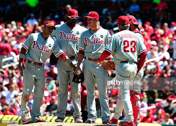 David Buchanan of the Philadelphia Phillies is removed from the game by manager Ryne Sandberg during the fifth inning at Busch Stadium on April 30...