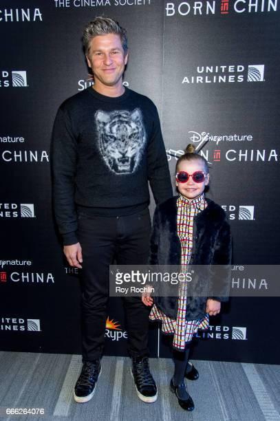David Burtka and Harper Grace BurtkaHarris attend Disneynature with the Cinema Society host the premiere of 'Born in China' at Landmark Sunshine...