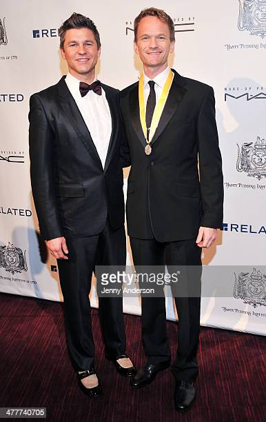 David Burtka and Hasty Pudding Theatrical 2014 Man of the Year Neil Patrick Harris attend the 2014 Hasty Pudding Institute Of 1770 Order of the...