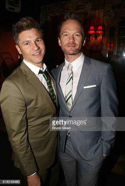 David Burtka and Neil Patrick Harris pose at The Opening Night Arrivals for 'She Loves Me' on Broadway at Studio 54 on March 17 2016 in New York City