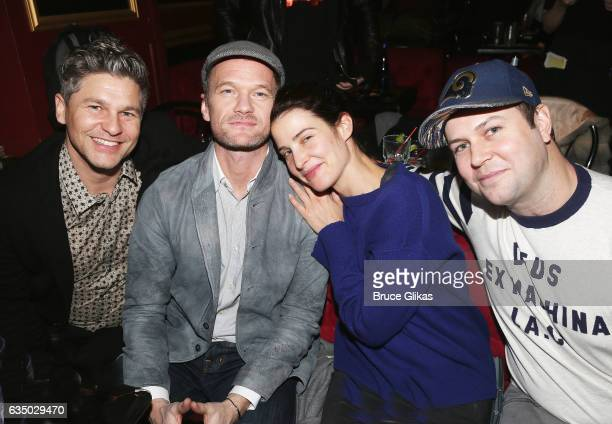 David Burtka Neil Patrick Harris Cobie Smulders and Taran Killem pose backstage at the hit musical 'Spamilton' at The Triad Theater on February 12...