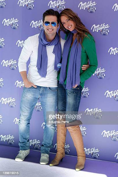 David Bustamante and Estefania Luyk attend Milka event photocall at Felipe II circus on February 23 2012 in Madrid Spain