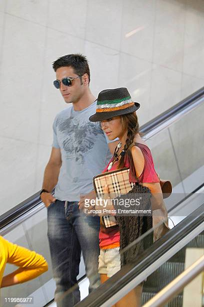 David Bustamante and Paula Echevarria are sighting in Barajas Airpot on July 28 2011 in Madrid Spain