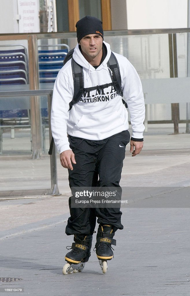 David Bustamante is seen rolling skates on December 25, 2012 in Oviedo, Spain.