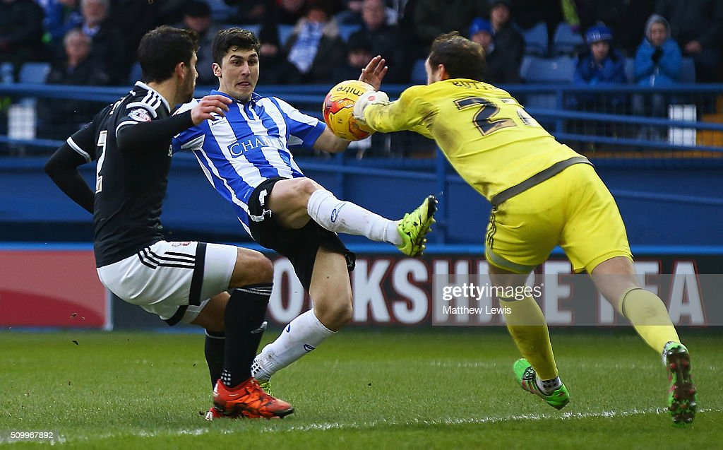 David Button of Brentford stops a shot from <a gi-track='captionPersonalityLinkClicked' href=/galleries/search?phrase=Fernando+Forestieri&family=editorial&specificpeople=5443110 ng-click='$event.stopPropagation()'>Fernando Forestieri</a> of Sheffield Wednesday during the Sky Bet Championship match between Sheffield Wednesday and Brentford at Hillsborough Stadium on February 13, 2016 in Sheffield, United Kingdom.