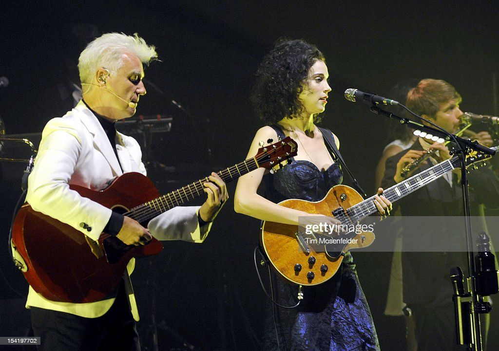 David Byrne (L) and Annie Clark aka St. Vincent perform in support of their Love This Giant release at the Orpheum Theatre on October 15, 2012 in San Francisco, California.