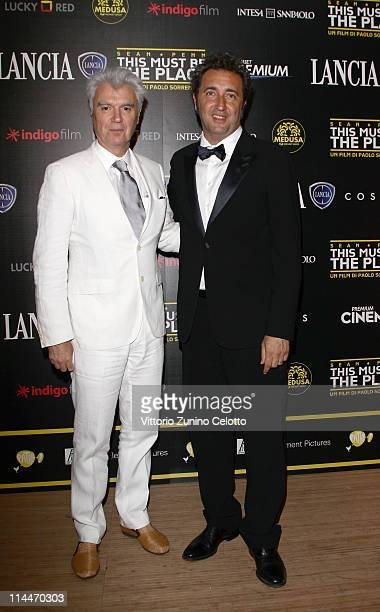 David Byrne and director Paolo Sorrentino attends the 'This Must Be The Place' party hosted by Lancia during the 64th Cannes Film Festival at Plage...