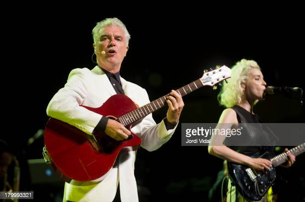 David Byrne and St Vincent aka Annie Clark perform on stage at L'Auditori on September 7 2013 in Barcelona Spain