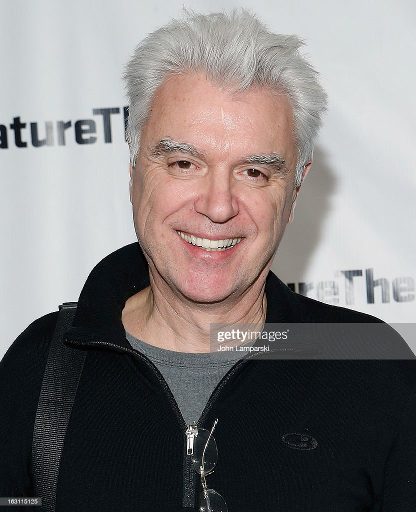 <a gi-track='captionPersonalityLinkClicked' href=/galleries/search?phrase=David+Byrne&family=editorial&specificpeople=210852 ng-click='$event.stopPropagation()'>David Byrne</a> attends the 'Old Hats' Opening Night at Signature Theatre Company's The Pershing Square Signature Center on March 4, 2013 in New York City.