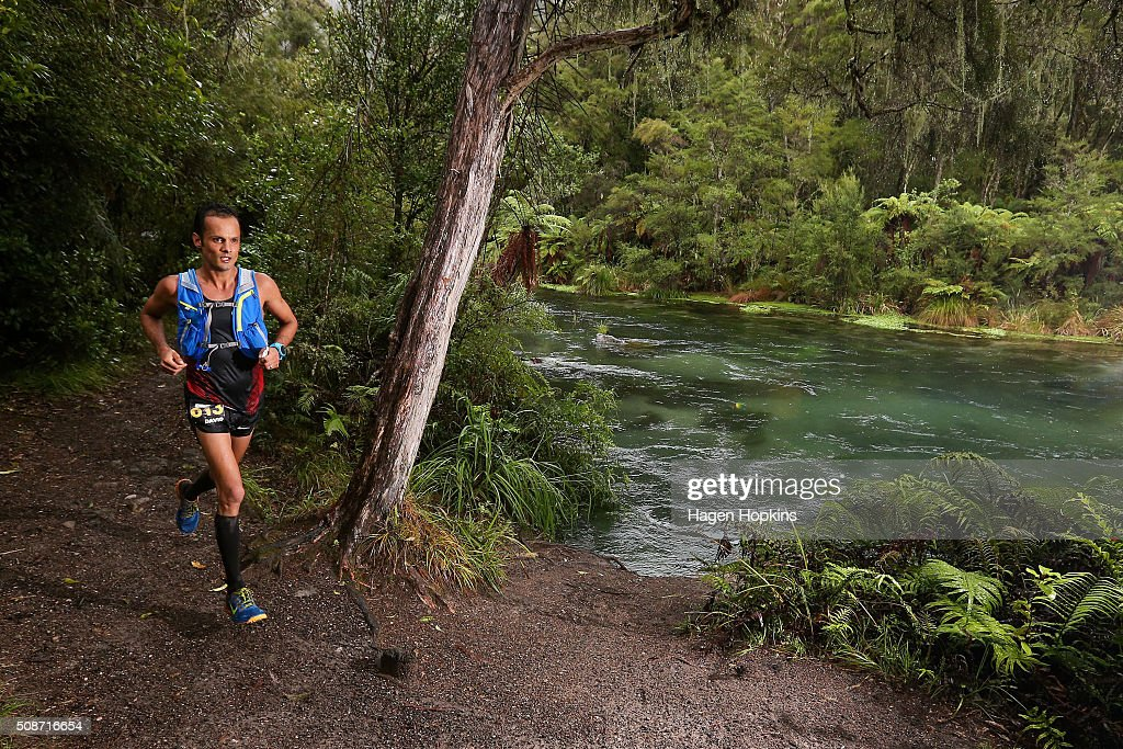 <a gi-track='captionPersonalityLinkClicked' href=/galleries/search?phrase=David+Byrne&family=editorial&specificpeople=210852 ng-click='$event.stopPropagation()'>David Byrne</a> of Australia in action during the Tarawera Ultramarathon on February 6, 2016 in Rotorua, New Zealand.