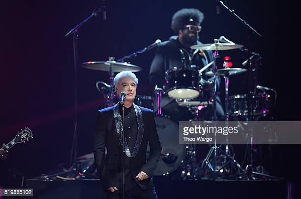 David Byrne performs at the 31st Annual Rock And Roll Hall Of Fame Induction Ceremony at Barclays Center on April 8 2016 in New York City