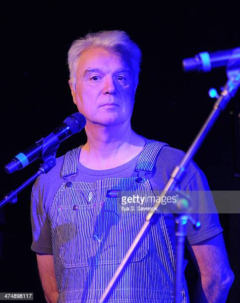 David Byrne performs during Artists' Pay For Radio Play at Le Poisson Rouge on February 25 2014 in New York City