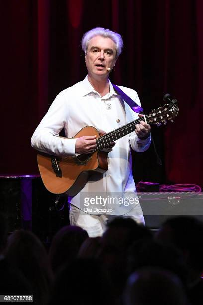 David Byrne performs onstage during the WITNESS 25th Anniversary Gala at The Edison Ballroom on May 11 2017 in New York City