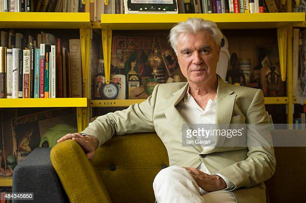 David Byrne poses in the 'David Byrne Reading Lounge' at the Meltdown Festival launch at Southbank Centre on August 17 2015 in London England