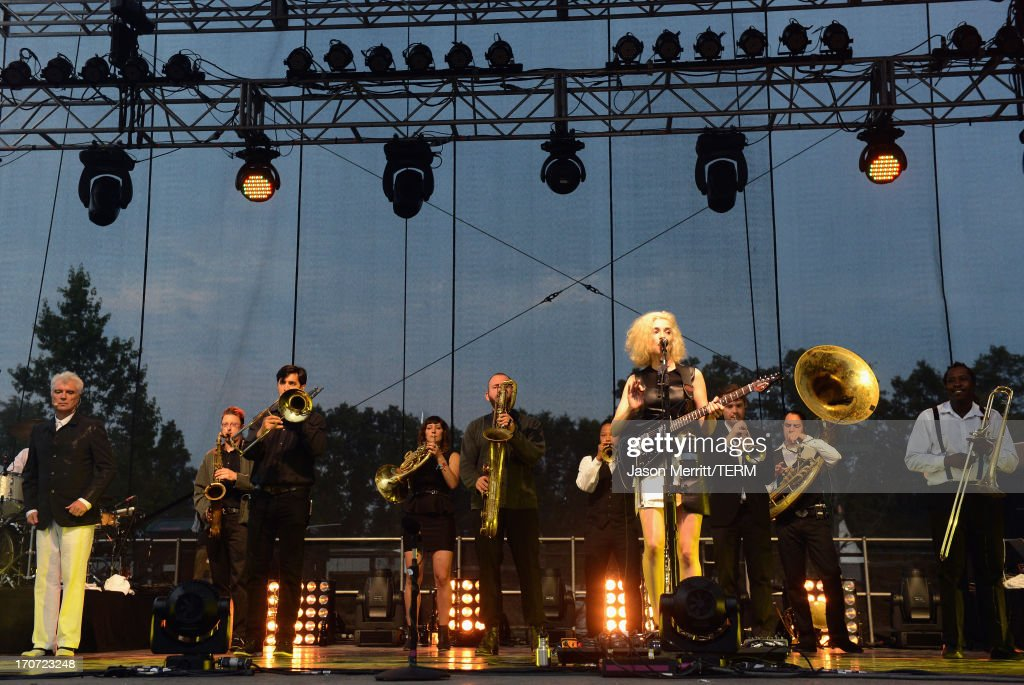 David Byrne & St. Vincent perform onstage at Which Stage during day 4 of the 2013 Bonnaroo Music & Arts Festival on June 16, 2013 in Manchester, Tennessee.