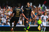 David Cabrera of Pumas celebrates with teamates after scoring the second goal of his team during a match between Pumas UNAM and Monterrey as part of...