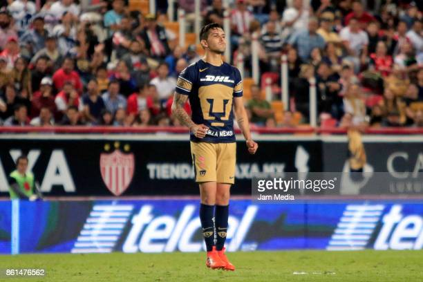 David Cabrera of Pumas reacts during the 13th round match between Necaxa and Pumas UNAM as part of the Torneo Apertura 2017 Liga MX at Victoria...