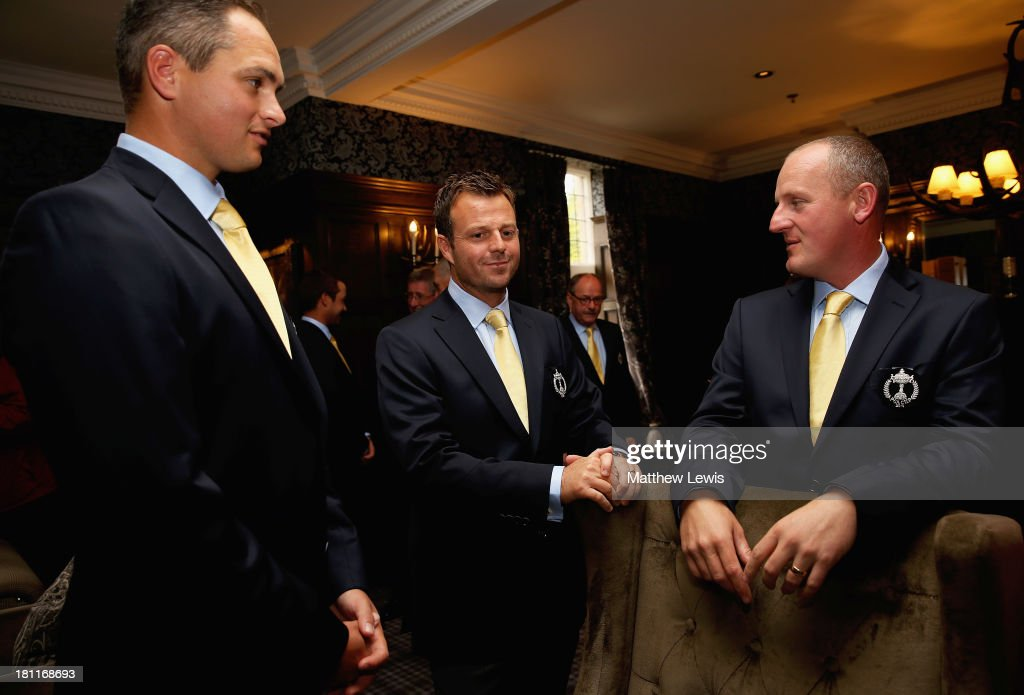 David Callaway, <a gi-track='captionPersonalityLinkClicked' href=/galleries/search?phrase=Benn+Barham&family=editorial&specificpeople=614232 ng-click='$event.stopPropagation()'>Benn Barham</a> and Daniel Greenwood of Great Britain and Ireland talk ahead of the opening ceremony ahead of the 26th PGA Cup at De Vere Slaley Hall on September 19, 2013 in Hexham, England.