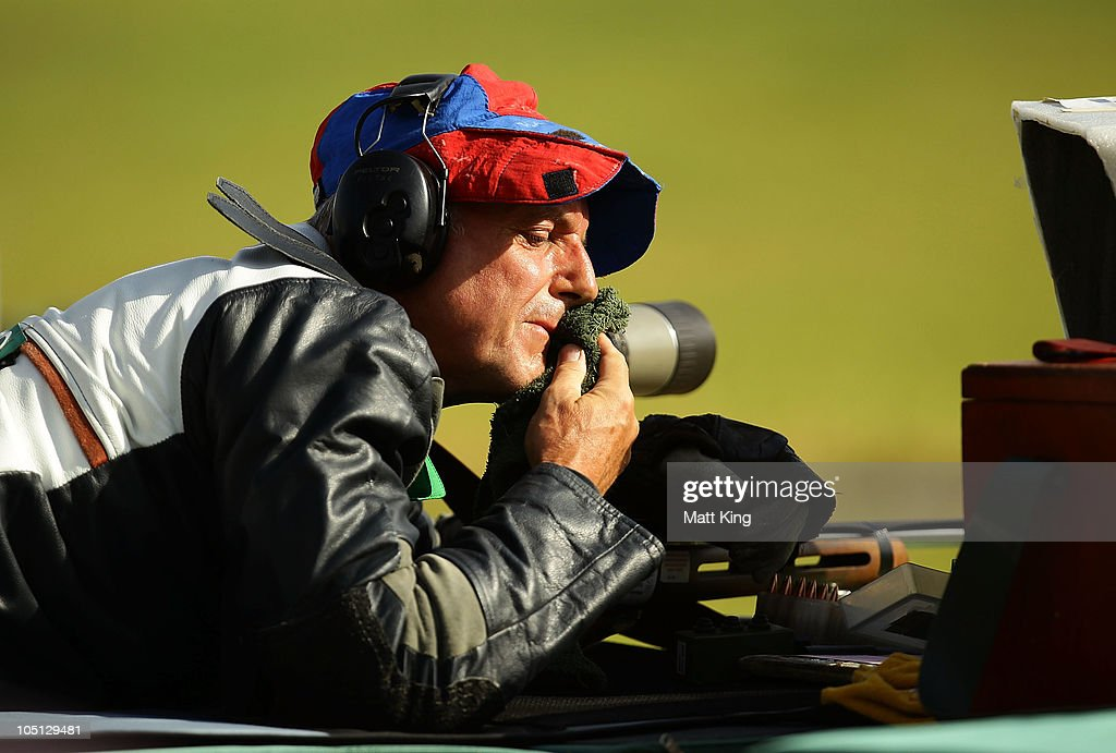 David Calvert of Northern Ireland competes in the 500 yards Singles Full Bore Open at the CRPF Campus, Kadarpur during day seven of the Delhi 2010 Commonwealth Games on October 10, 2010 in Gurgaon, India.