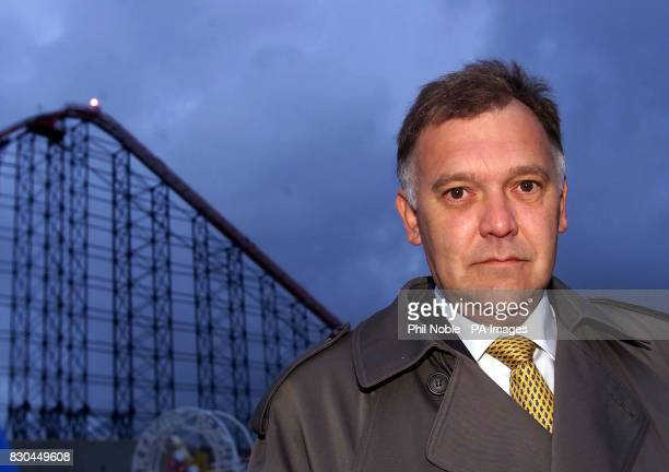 David Cam Director and Company secretary of Blackpool Pleasure Beach in view of The Big One rollercoaster at Blackpool Pleasure Beach Lancashire...